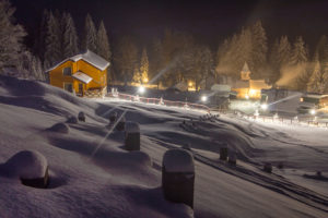 Sled hill at night